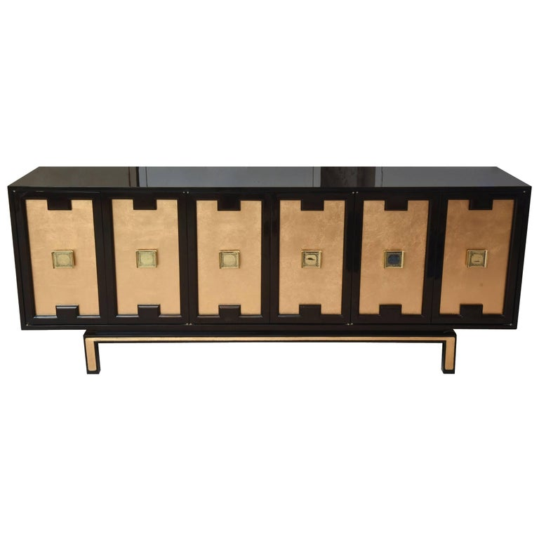 Vintage Lacquered Wood, Gold Leaf and Brass Cabinet/ Buffet