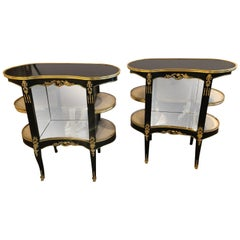 Pair of Louis XV Hollywood Regency Style Ebony Vitrine End Tables or Nightstands