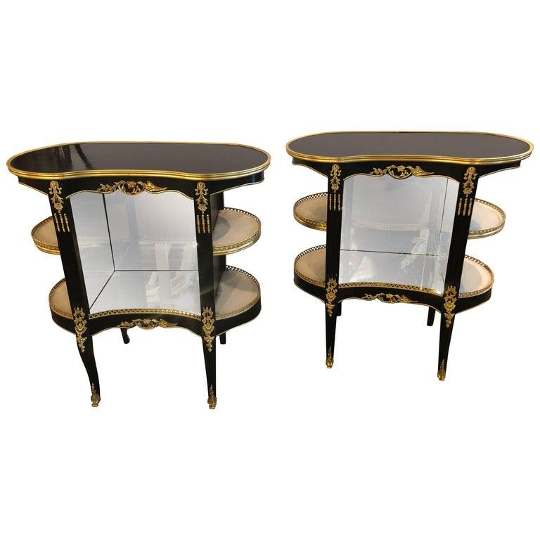Pair of Louis XV Hollywood Regency Style Ebony Vitrine End Tables or Nightstands