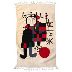 Handwoven Joan Miro Style Tapestry