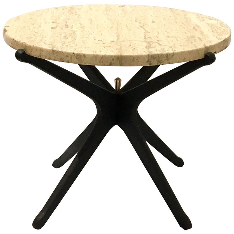 175cd575954bf Italian Mid-Century Modern Star Base Small Cocktail Table Marble and Wood  For Sale at 1stdibs