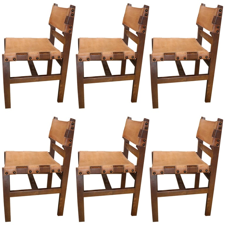 Set of Six Wood and Leather Chairs