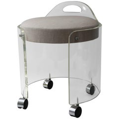Round Lucite Vanity Stool on Casters