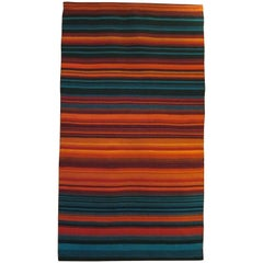 Petrol Blue and Red Flat-Woven Raanu Tapestry from Lapland Fjelds