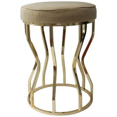 Hour Glass Form, Round Vanity Stool in Polished Brass and Velvet Upholstery