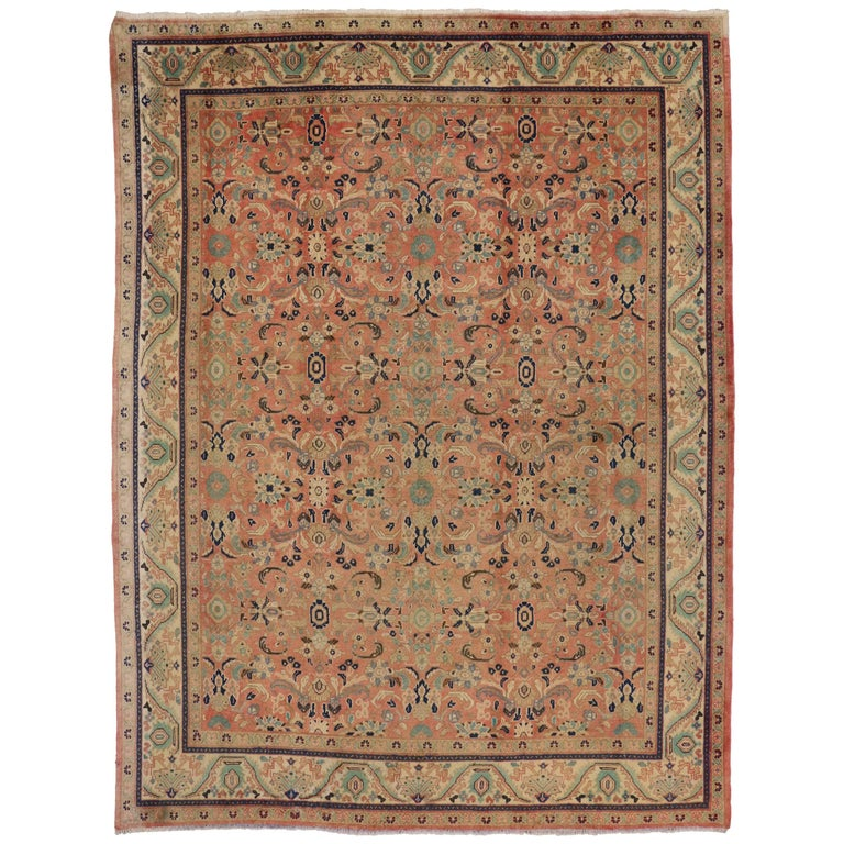 Vintage persian mahal rug with traditional style peach for Vintage style area rugs
