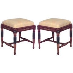 Swedish Neoclassic Style Parcel-Gilt and Patinated Birch Stools