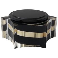 Scalloped Box in Clear, Black and Gold Lucite in the Style of Willy Rizzo