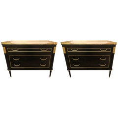 Pair of Ebonized Louis XVI Hollywood Regency Commodes or Nightstands