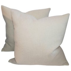 Mohair in Cream Pillows, Pair