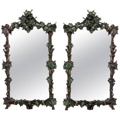 Pair of Rustic Continental 19th Century Painted and Carved Vertical Wall Mirrors