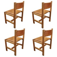 Set of Four Oak and Leather Side Chairs