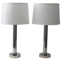 Pair of Von Nessen Polished Chrome Table Lamps