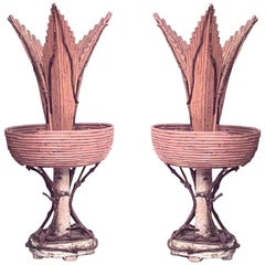 Pair of Rustic Continental Style Twig Vases