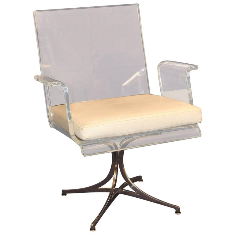 Laverne Lotus Base Occasional Lucite Chair, 1960s
