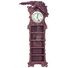 Rustic Black Forest 19th Century Walnut Wall Clock
