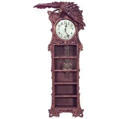 Rustic Black Forest 19th Century Walnut Wall Clock