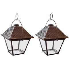 Pair of French 20th Century Lanterns, Wired for US Specifications
