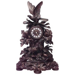Rustic Black Forest 19th Century Carved Walnut Mantel Clock