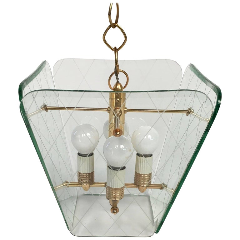 Italian Brass and Etched Glass Chandelier by Pietro Chiesa for Fontana Arte