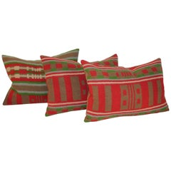 Three 19th Century Wool Horse Blanket Pillows