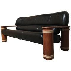 20th Century Leather and Palmwood Sofa