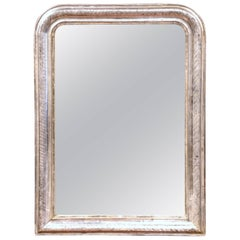 19th Century French Louis Philippe Silver Leaf Wall Mirror with Engraved Motifs