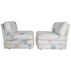 Pair of Milo Baughman Style Slipper Chairs