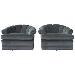 Pair of 1970s Barrel Back Tub Chairs on Rolling Casters