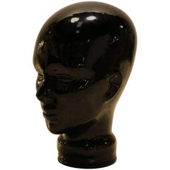 Black Glass Sculpture of Woman's Head