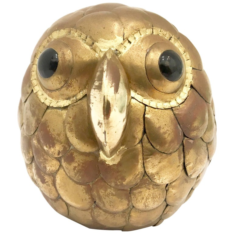 Whimsical Petite Owl Sculpture Attributed to Sergio Bustamante