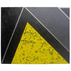 "Yellow, Black and Silver Painting ""The Mountain"" by Gerald Campbell"