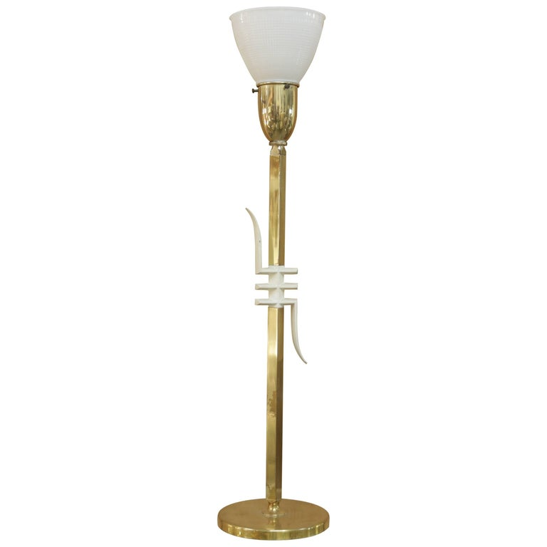 Sculptural Brass and White Table Lamp with Frosted Glass Shade by Laurel