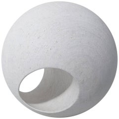 "24"" Sculptural Wood Sphere in Whitewash by May Furniture"
