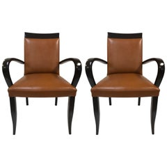 Pair of Art Deco Leather Side Chairs