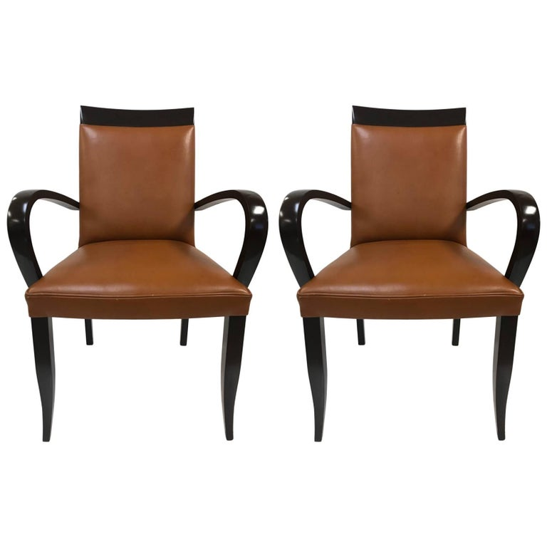 Pair Of Dakota Jackson Leather Side Chairs For Sale At 1stdibs