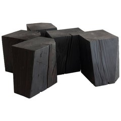 Charcoal Blocks, Sculptural, Geometric, Shou Sugi Ban Coffee or Side Tables