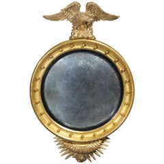 19th Century American Federal Carved, Gilded, Ebonized Convex Mirror