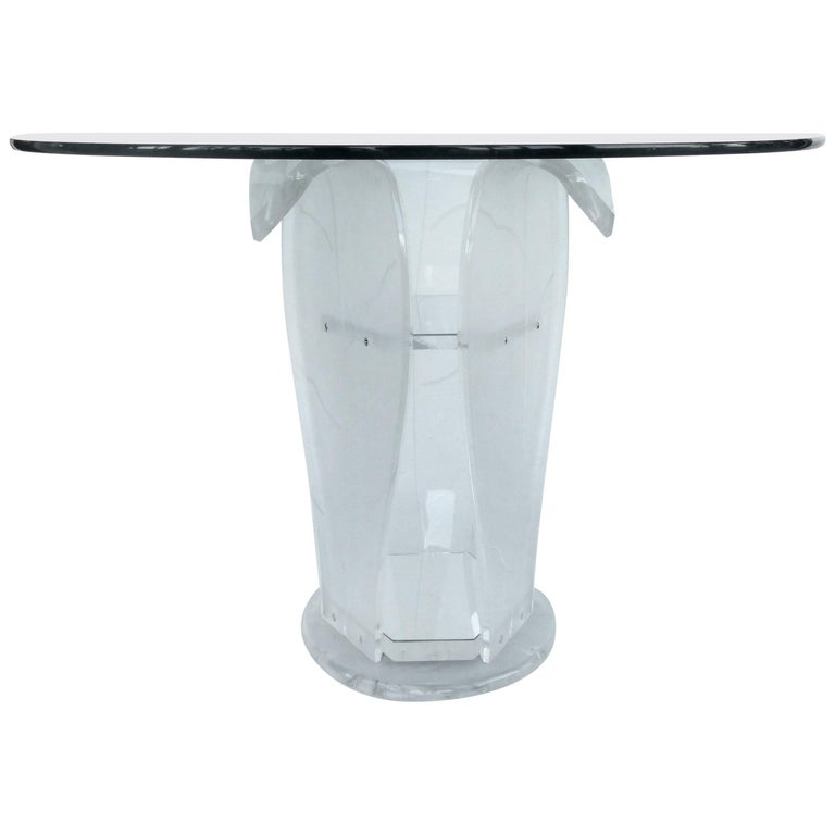 Round Lucite Pedestal Table with Glass Top