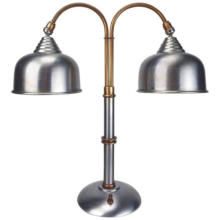 1930s Streamline Machine Age Faries Lamp Co. Steel and Brass Desk Lamp