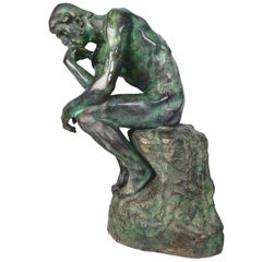 French Auguste Rodin Verdigris Bronze Sculpture the Thinker