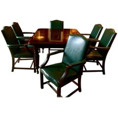 Dining Table Ten Leather Dining Chairs Mahogany Extending Victorian, 1850