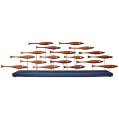 Mid-Century Inspired Fish Sculpture in Vintage Teak and Walnut by Tyler Fritz