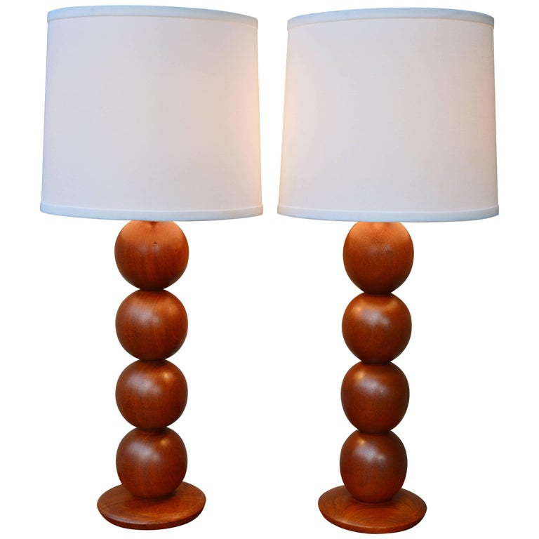 Pair of Danish Modern Teak Stacked Ball Table Lamps with New Linen Shades