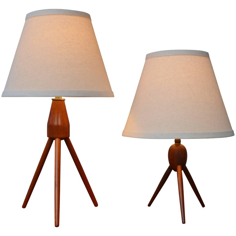 Two Danish Modern Teak Tripod Table Lamps New Conical Shades At 1stdibs