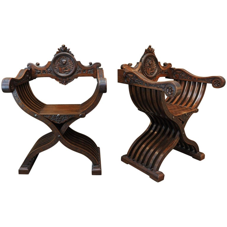 19th Century Pair of Dagobert Carved Walnut Chairs
