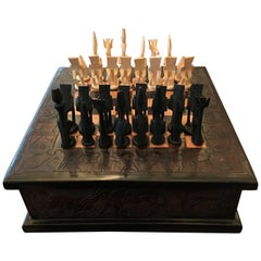 Complete chess board  in Black and White Wood Inclusive Hand-Carved Storage Box
