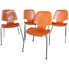 1960 Vintage Arne Jacobsen Style Metal Tube Bent Wooden Dining Chairs