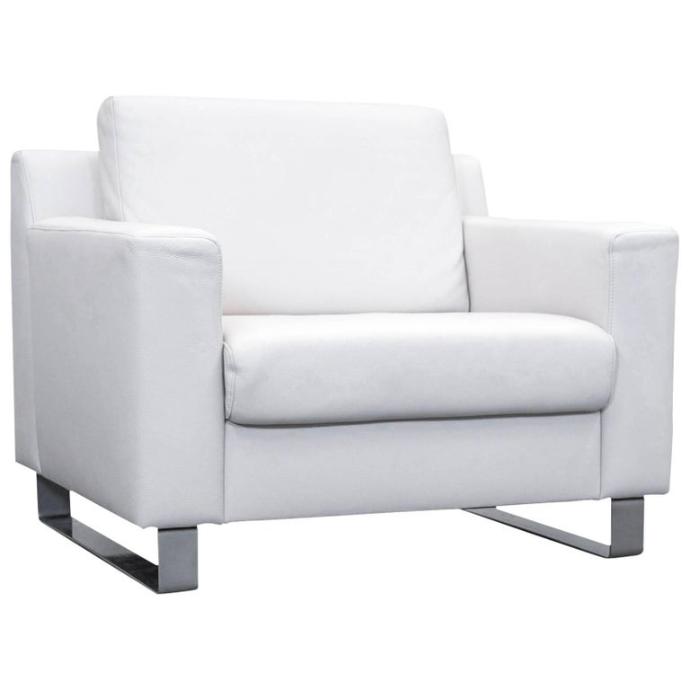 ewald schillig designer leather armchair white one seat couch modern for sale at 1stdibs. Black Bedroom Furniture Sets. Home Design Ideas