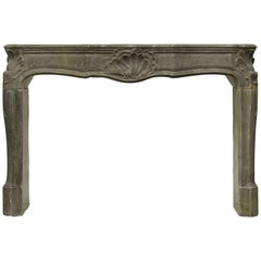 Strong Limestone Louis XV Fireplace Mantel, 18th Century